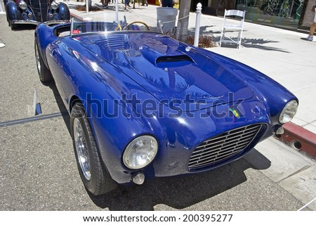 BEVERLY HILLS/CALIFORNIA - JUNE 15, 2014: 1952 SIATA 208 Prototype owned by Dr. Ron Busitil at the Rodeo Drive Concours D'Elegance on June 15, 2014 Beverly Hills, California, USA - stock photo