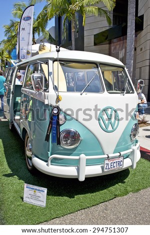 BEVERLY HILLS, CALIFORNIA - JUNE 21, 2015: 1964 Volkswagon Microbus (Electric Conversion) on display at the Rodeo Drive Concours D'Elegance on June 21, 2015 Beverly Hills, California, USA - stock photo