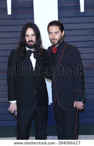 BEVERLY HILLS - FEB 28: Alessandro Michele, Jared Leto at the 2016 Vanity Fair Oscar Party on February 28, 2016 in Beverly Hills, California - stock photo