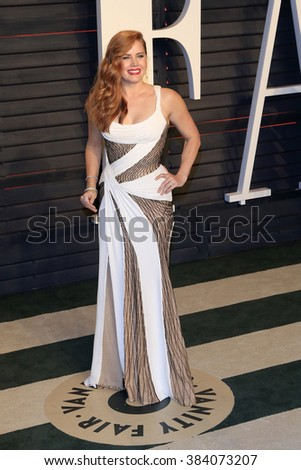 BEVERLY HILLS - FEB 28: Amy Adams at the 2016 Vanity Fair Oscar Party on February 28, 2016 in Beverly Hills, California - stock photo