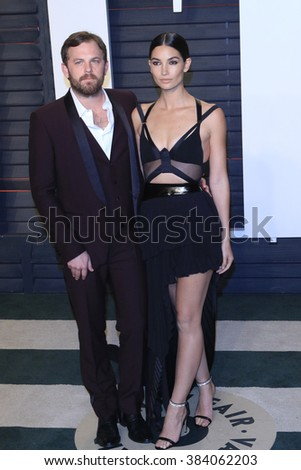 BEVERLY HILLS - FEB 28: Caleb Followill, Lily Aldridge at the 2016 Vanity Fair Oscar Party on February 28, 2016 in Beverly Hills, California - stock photo