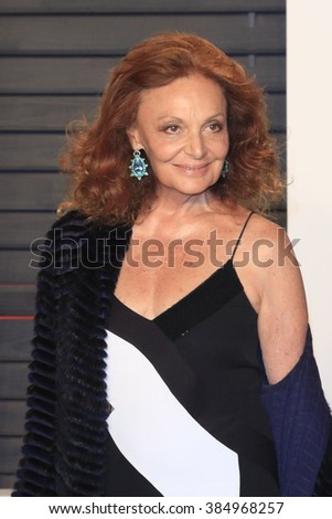 BEVERLY HILLS - FEB 28: Diane von Furstenberg at the 2016 Vanity Fair Oscar Party on February 28, 2016 in Beverly Hills, California - stock photo
