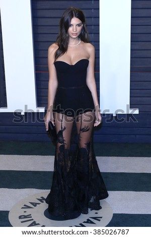 BEVERLY HILLS - FEB 28: Emily Ratajkowski at the 2016 Vanity Fair Oscar Party on February 28, 2016 in Beverly Hills, California - stock photo