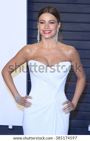 BEVERLY HILLS - FEB 28: Sofia Vergara at the 2016 Vanity Fair Oscar Party on February 28, 2016 in Beverly Hills, California - stock photo