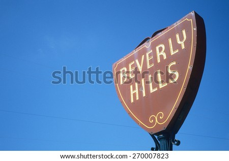 Beverly Hills road sign, Los Angeles, California - stock photo