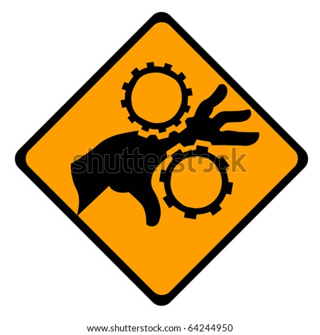 Beware cutting machine cut your hand sign - stock photo