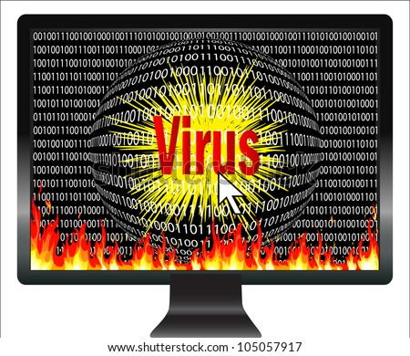 Beware of computer viruses. Concept of digital danger, that viruses are threatening the computer world - stock photo