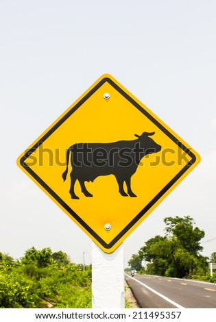Beware of cow traffic signs - stock photo