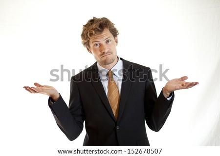 Bewildered businessman - stock photo
