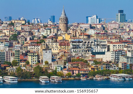 Beyoglu district historic architecture and medieval Galata tower in Istanbul, Turkey - stock photo