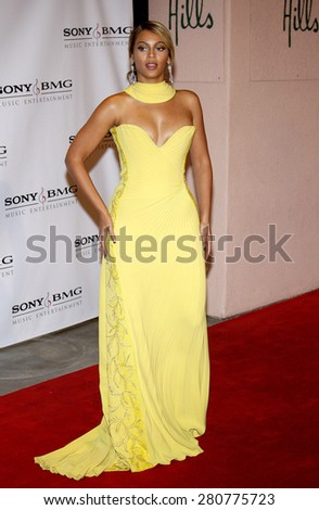 Beyonce Knowles at the 2008 Sony/BMG Grammy After Party held at the Beverly Hills Hotel in Beverly Hills on February 10, 2008.  - stock photo