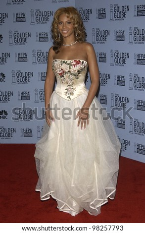BEYONCE KNOWLES at the 60th Annual Golden Globe Awards at the Beverly Hills Hilton. 19JAN2003.  Paul Smith / Featureflash - stock photo