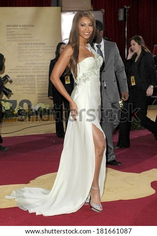 Beyonce Knowles, wearing Armani Prive, at OSCARS 79th Annual Academy Awards - ARRIVALS , The Kodak Theatre, Los Angeles, CA, February 25, 2007 - stock photo