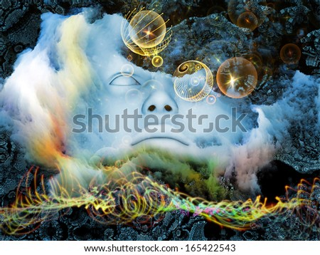 Beyond Human series. Collage of human, geometric and natural forms on the subject of inner reality, mental health, imagination, mysticism, thinking and dreaming. - stock photo