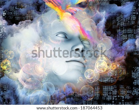 Beyond Human series. Interplay of human, fractal and natural forms on the subject of inner reality, mental health, imagination, thinking and dreaming - stock photo