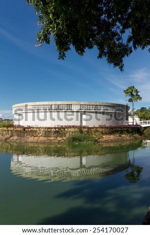 BH, BRAZIL - 15 feverreiro - An exterior view of the Casa do Baile in February 15, 2015, in Belo Horizonte, Brazil. Designed by Brazilian architect Oscar Niemeyer. - stock photo