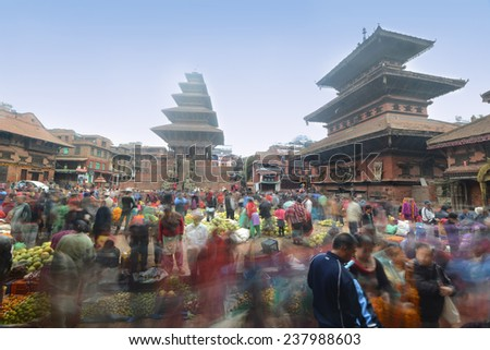 BHAKTAPUR - OCT 24: Colorful market during Diwali festival on October 24, 2014 in Bhaktapur, Nepal. Diwali is also called Festival of Lights and is one of the important traditional festivals of Nepal. - stock photo