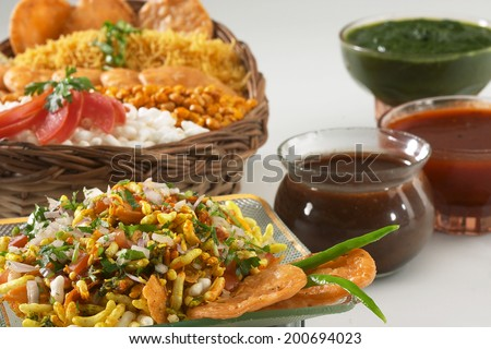 Bhel puri, Chat item, India - stock photo