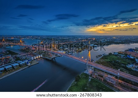 Bhumibol Bridge bird's eye view - stock photo