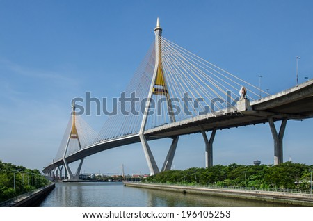 Bhumibol Bridge in Thailand, also known as the Industrial Ring Road Bridge, in Thailand. The bridge crosses the Chao Phraya River twice. - stock photo
