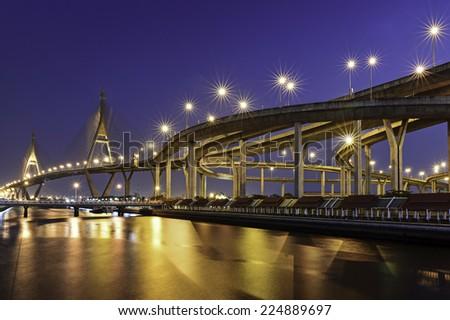 Bhumibol II bridge (Bangkok, Thailand) - stock photo