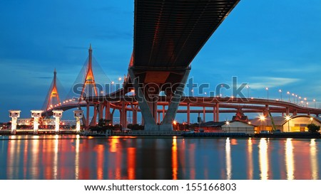 Bhumibol Suspension Bridge across Chao Phraya river at twilight in Bangkok, Thailand - stock photo