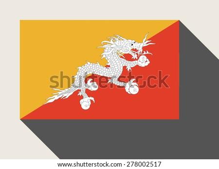 Bhutan flag in flat web design style. - stock photo