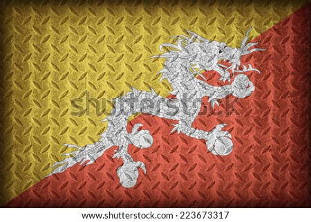 Bhutan flag pattern on the diamond metal plate texture ,vintage style - stock photo