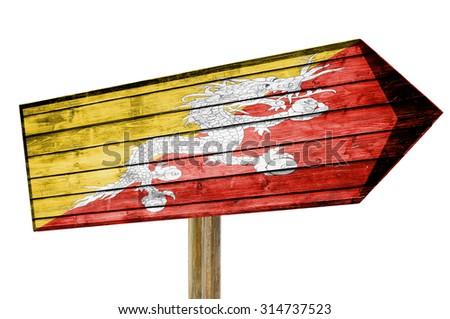 Bhutan Flag wooden sign isolated on white - stock photo