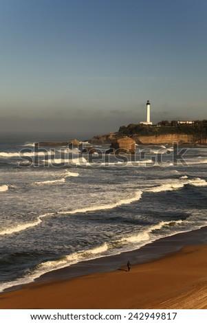 Biarritz beach in France  - stock photo