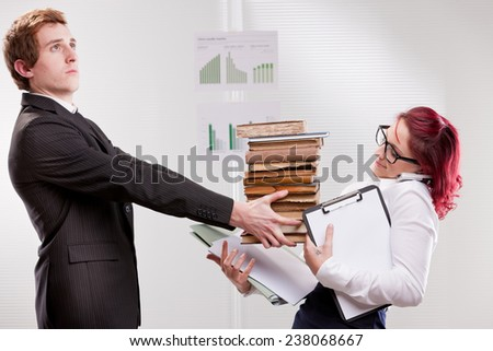 bias gender annoyances at work in the office - stock photo
