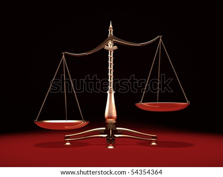 Biased brass weight scales Law and Justice symbol Isolated on black red background - stock photo