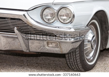 Biberach, Germany, 31 August 2015:: American vintage car, close-up of front detail - stock photo