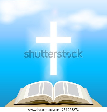 Bible and shining cross over blue sky. - stock photo