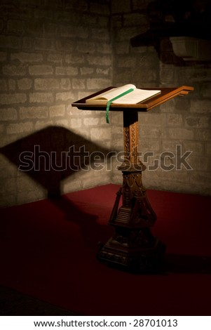 bible in a church - stock photo