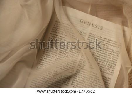 Bible Opened to Genesis - stock photo