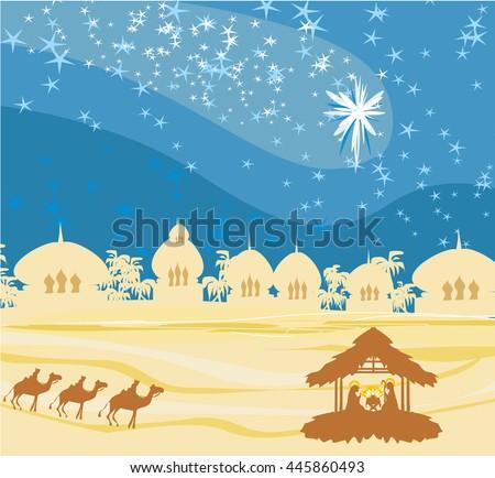 Biblical scene - birth of Jesus in Bethlehem.  - stock photo