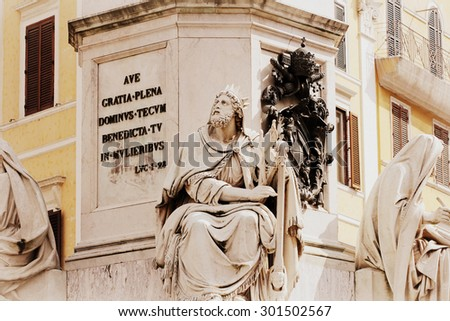 Biblical Statues at Base of Colonna dell'Imacolata in rome, Italy ( March 11, 2015 ) - stock photo