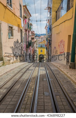 Bica elevator tram in Lisbon, Portugal - stock photo