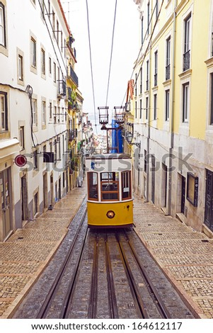 Bica tram in Lisbon Portugal - stock photo
