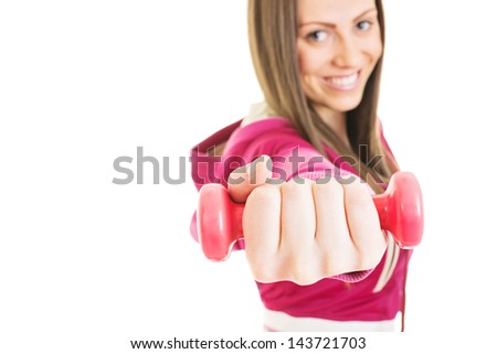 Biceps dumbbell workout - stock photo
