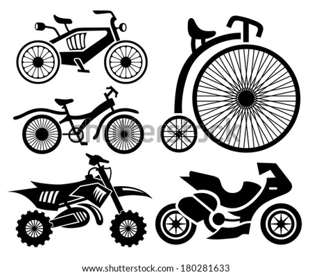 bicycle and motorbike icons collection, raster version - stock photo