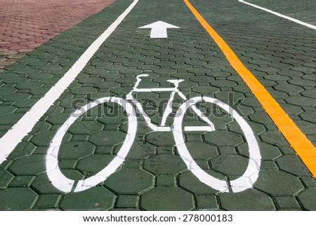 Bicycle and pavement lane  - stock photo