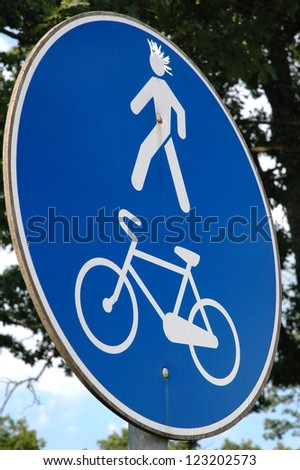 Bicycle and pedestrian lane - stock photo