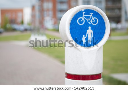 Bicycle and pedestrian lane in Ipswich, Suffolk, UK. - stock photo