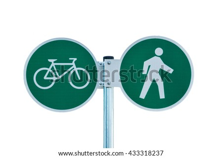 Bicycle and pedestrian shared route sign isolated on white - stock photo
