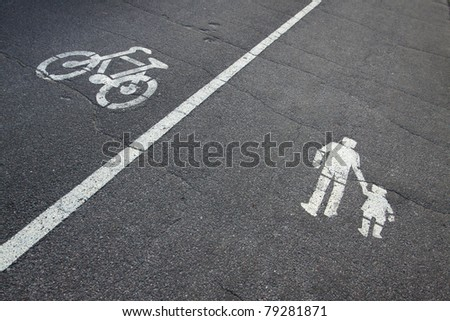 Bicycle and pedestrian signs - stock photo