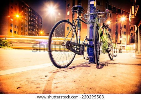 Bicycle at night - stock photo