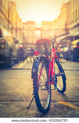 Bicycle at the city - stock photo