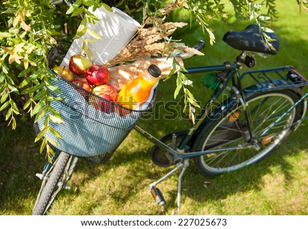 Bicycle basket with apples, orange juice, baguette and newspaper in summer garden during sunny day. Healthy lifestyle concept. - stock photo